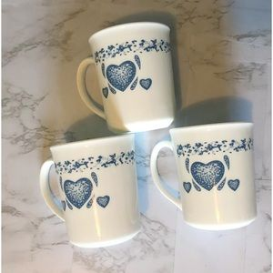 Corning Corelle Blue Hearts Straight Side Mug Cups